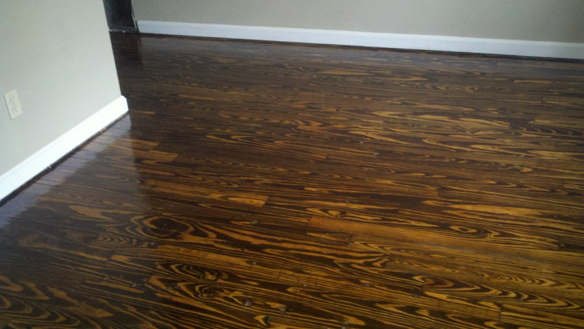 A refinished hardwood floor in the Columbia area