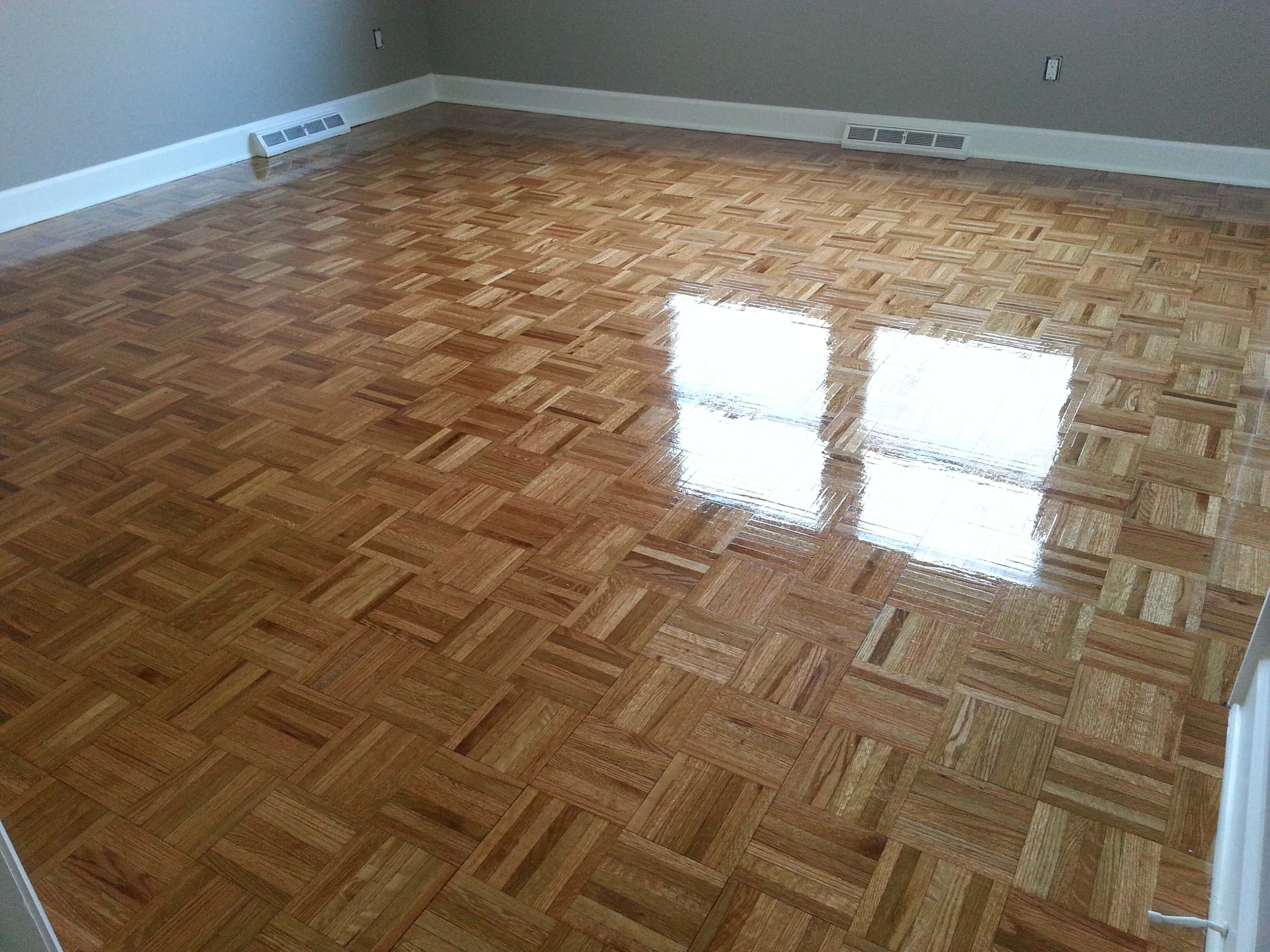 A refinished parquet hardwood floor done by Fabulous Floors Columbia