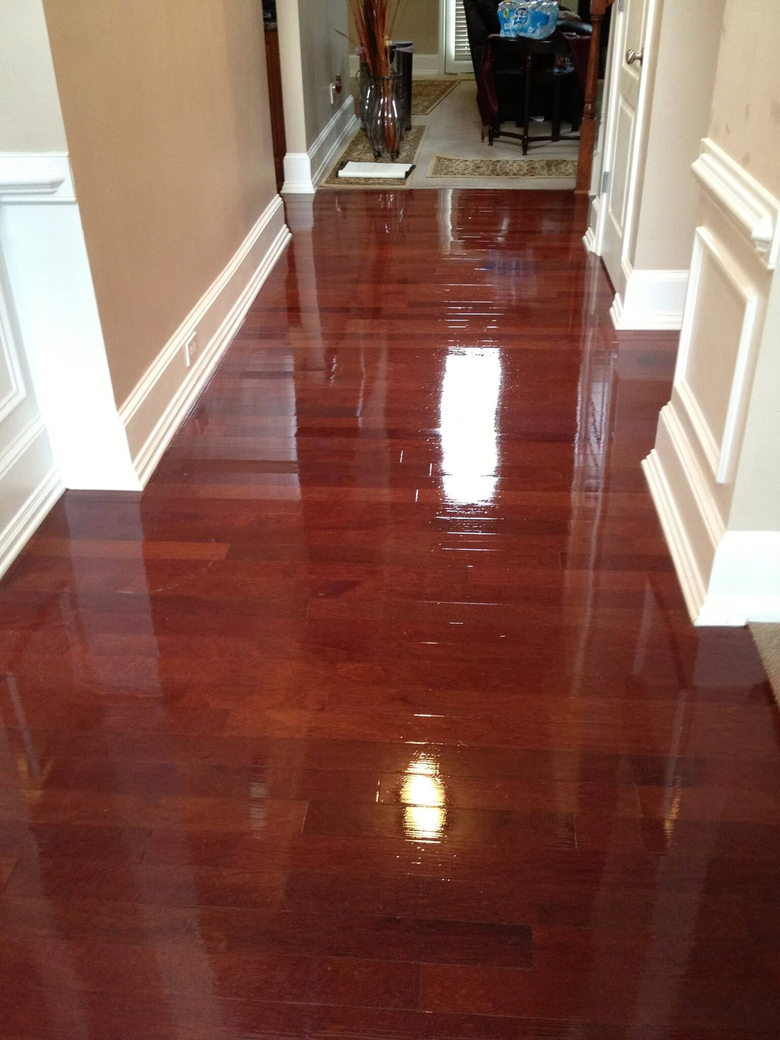 a refinished hardwood floor that was done by fabulous floors