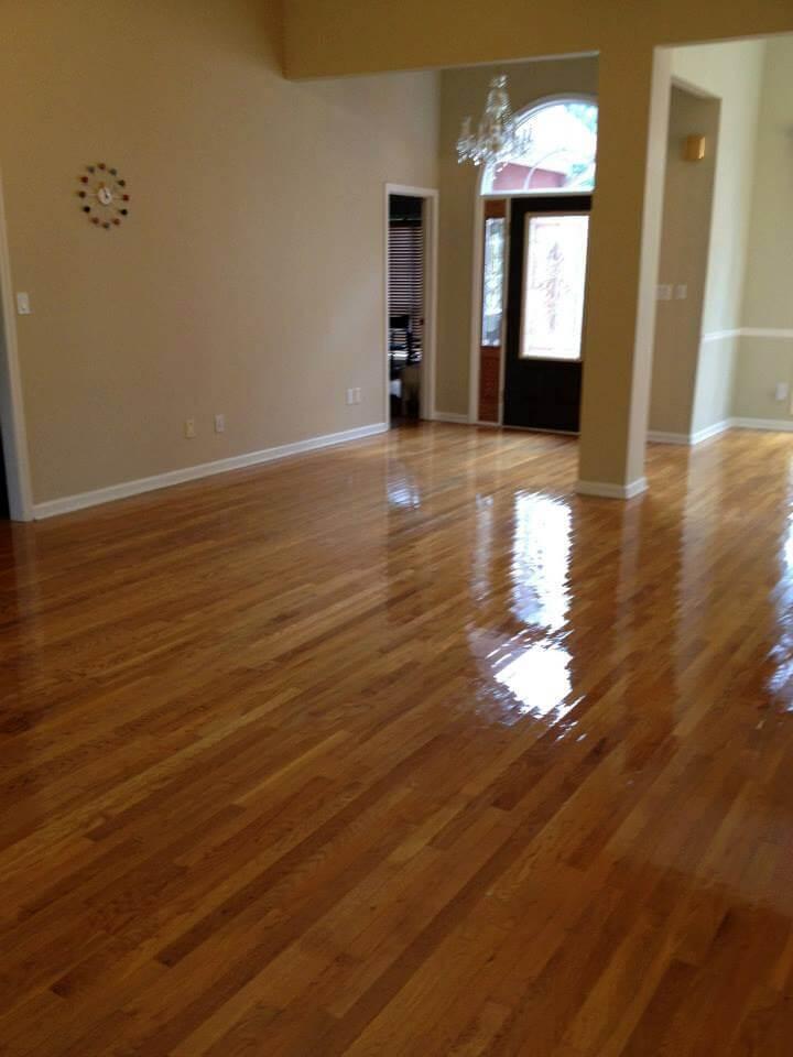 a recently resurfaced hardwood floor