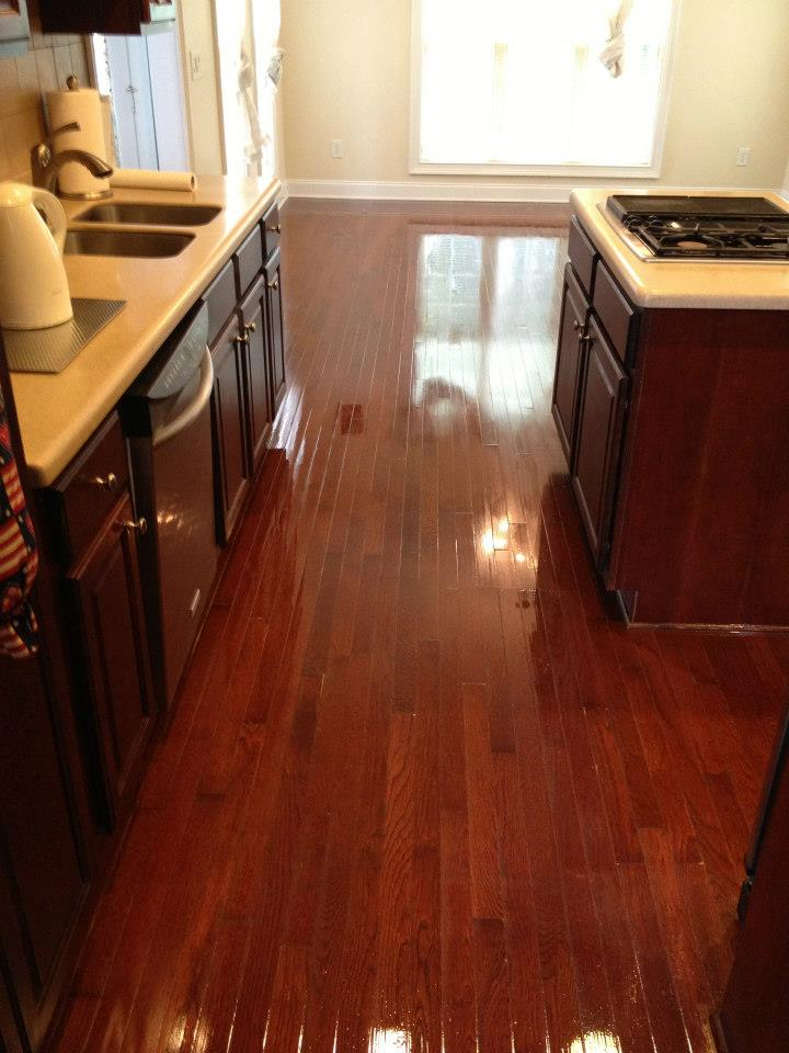 A recently refinished hardwood floor in a Columbia home