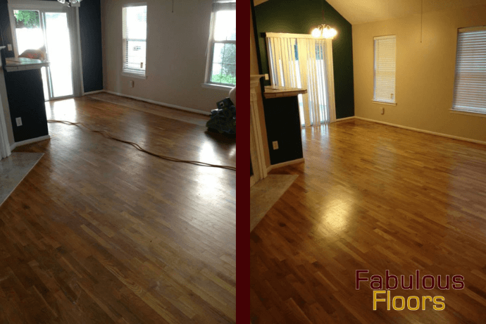 before and after hardwood floor refinishing in Columbia, SC