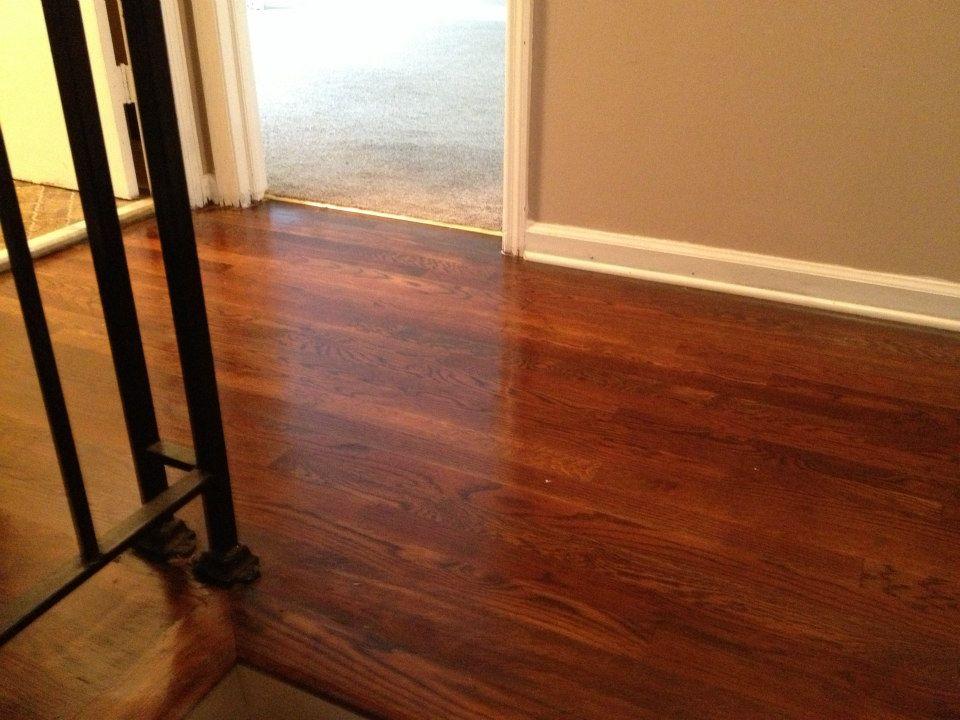 A recently refinished hardwood floor