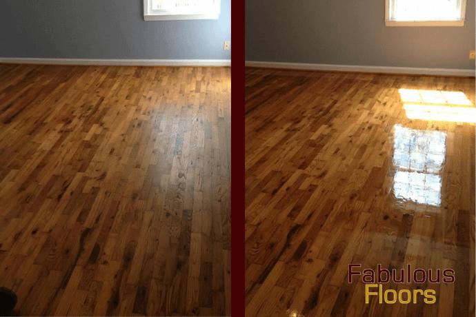 Before and after hardwood floor resurfacing in Springdale, SC